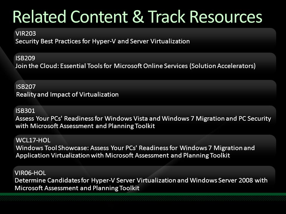 Related Content & Track Resources VIR203 Security Best Practices for Hyper-V and Server Virtualization ISB209 Join the Cloud: Essential Tools for Microsoft Online Services (Solution Accelerators) ISB207 Reality and Impact of Virtualization ISB301 Assess Your PCs Readiness for Windows Vista and Windows 7 Migration and PC Security with Microsoft Assessment and Planning Toolkit Required Slide Track PMs will supply the content for this slide, which will be inserted during the final scrub.