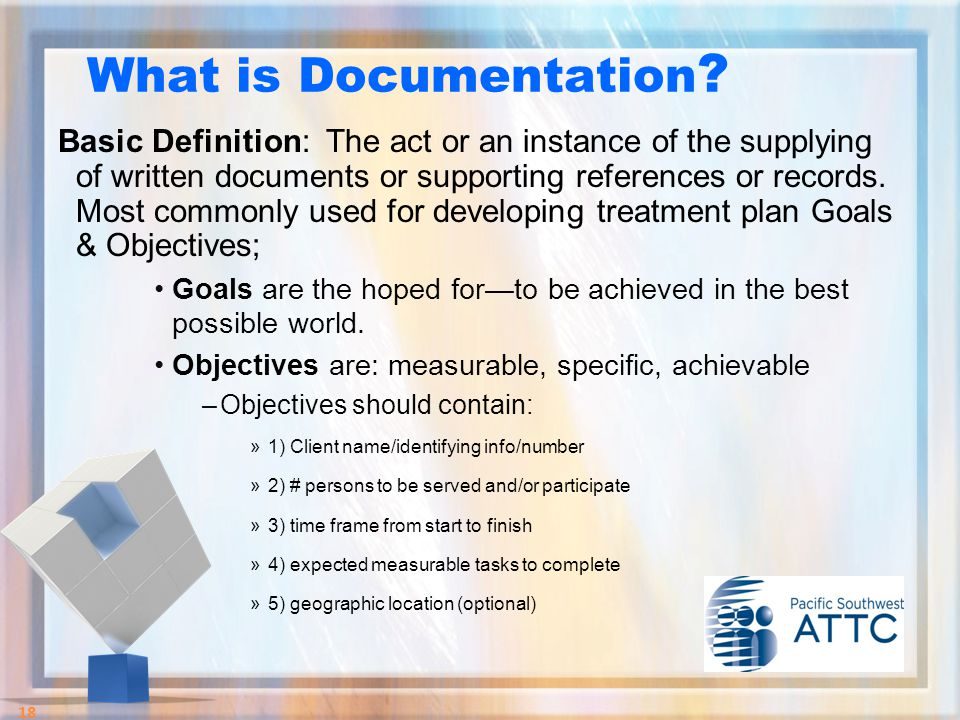 Basic Definition: The act or an instance of the supplying of written documents or supporting references or records.