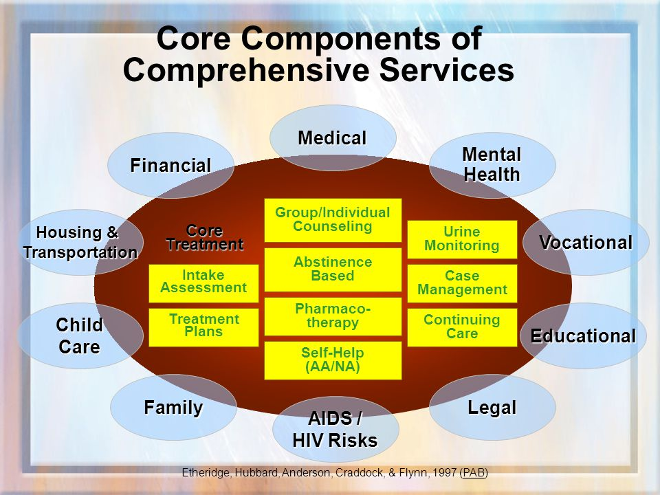 Core Components of Comprehensive Services Medical Mental Health Vocational Educational Legal AIDS / HIV Risks Financial Housing & Transportation Child Care Family Continuing Care Case Management Urine Monitoring Self-Help (AA/NA) Pharmaco- therapy Group/Individual Counseling Abstinence Based Intake Assessment Treatment PlansCoreTreatment Etheridge, Hubbard, Anderson, Craddock, & Flynn, 1997 (PAB)
