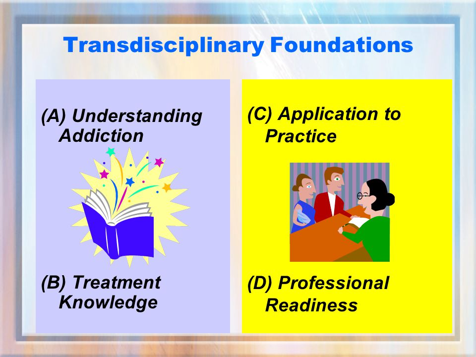 (A) Understanding Addiction (B) Treatment Knowledge (C) Application to Practice (D) Professional Readiness Transdisciplinary Foundations