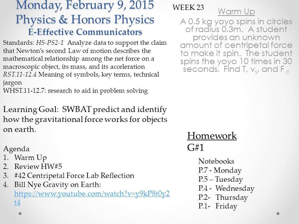 Monday February 9, 2015 I –Independent Resilient Individuals Warm Up A 0.5 kg yoyo spins in circles of radius 0.3m.