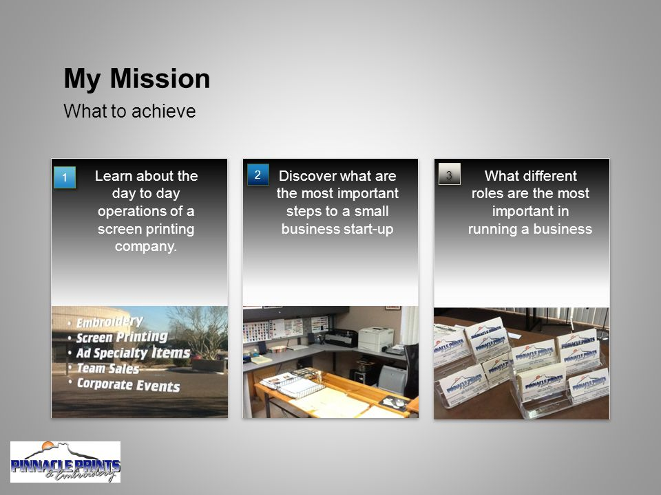 What to achieve My Mission Learn about the day to day operations of a screen printing company.