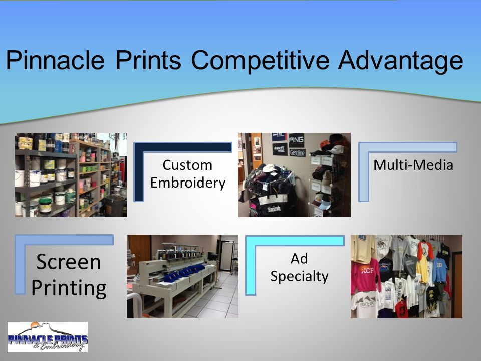 Screen Printing Custom Embroidery Ad Specialty Multi-Media Pinnacle Prints Competitive Advantage
