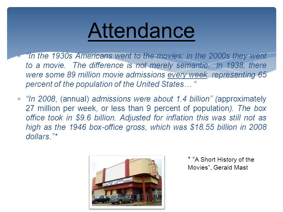  In the 1930s Americans went to the movies; in the 2000s they went to a movie.