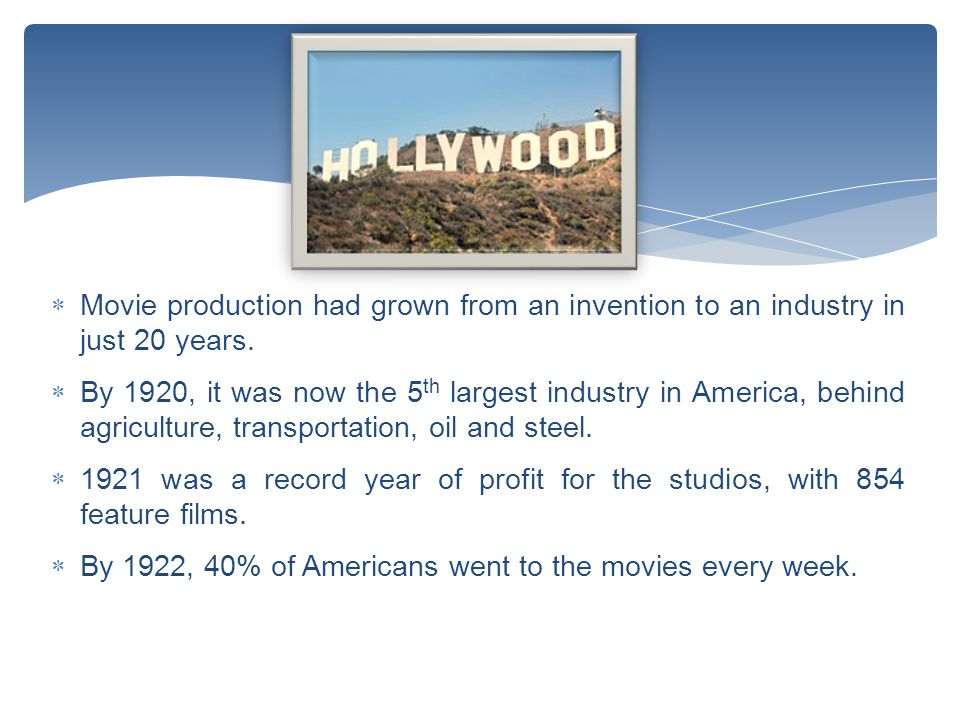  Movie production had grown from an invention to an industry in just 20 years.