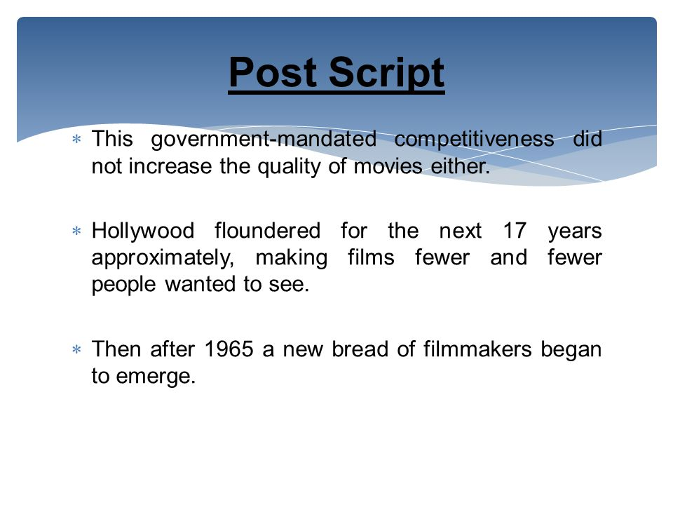  This government-mandated competitiveness did not increase the quality of movies either.