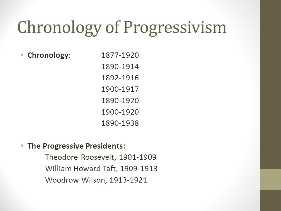 Chronology of Progressivism Chronology: 1877-1920 1890-1914 1892-1916 1900-1917 1890-1920 1900-1920 1890-1938 The Progressive Presidents: Theodore Roosevelt, 1901-1909 William Howard Taft, 1909-1913 Woodrow Wilson, 1913-1921