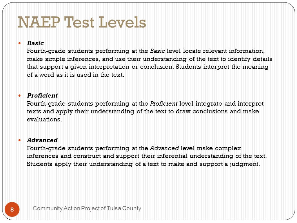 OK NAEP Results (2009) 35% of OK 4 th graders are below basic (16 th worst) 72% are below proficient (10 th worst) Nationally, only 15% are proficient and 49% are below basic.