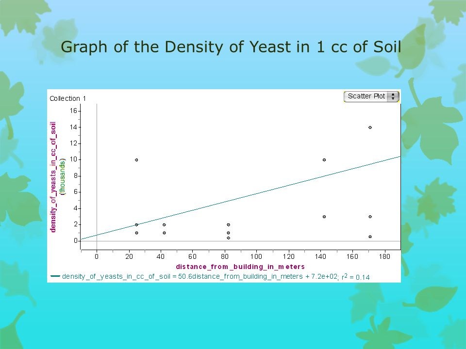 Here are our results: Data Table of the Average Amount of Mold and Yeast SampleTrialDensity of Mold in 1 cc of soil Average Mold density in 1 cc of soil Density of Yeast in 1 cc of soil Average Yeast density in 1 cc of soil Total Fungi density in 1 cc of soil Average density in 1 cc of soil Greg (42 m.) 1300018000 20001333 50003133 240010001400 3200010003000 Sasha (25 m.) 140002333 10004333 50006667 210001000011000 32000 4000 Cody (171 m.) 1200008333 140005867 3400014200 2400030007000 310006001600 Bertha (82 m.) 140002666 4001133 44003800 2300010004000 3100020003000 Zack (142 m.) 1300024333 1000014333 1300038666 230000300033000 3400003000070000