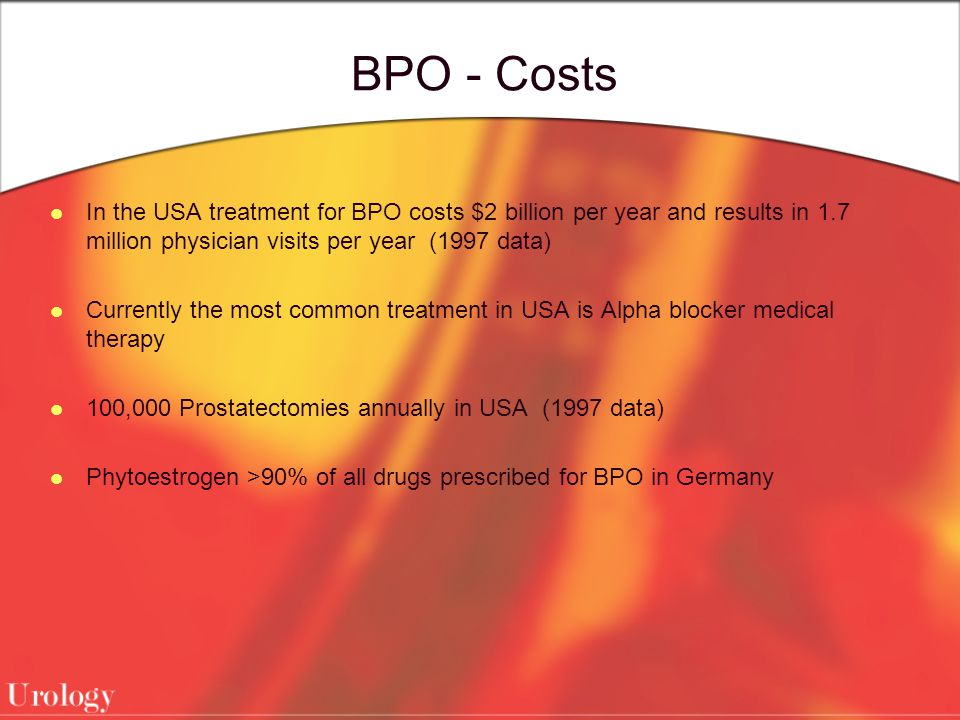 BPO - Costs In the USA treatment for BPO costs $2 billion per year and results in 1.7 million physician visits per year (1997 data) Currently the most