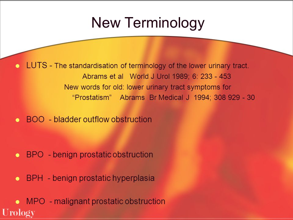 New Terminology LUTS - The standardisation of terminology of the lower urinary tract. Abrams et al World J Urol 1989; 6: 233 - 453 New words for old: