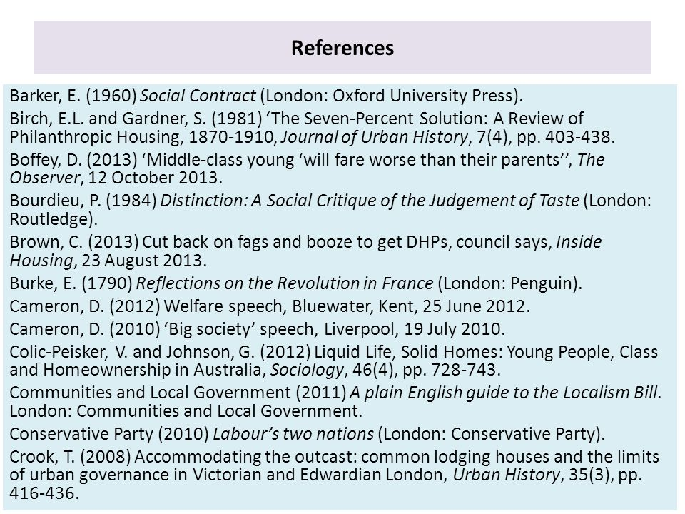 References Barker, E. (1960) Social Contract (London: Oxford University Press).
