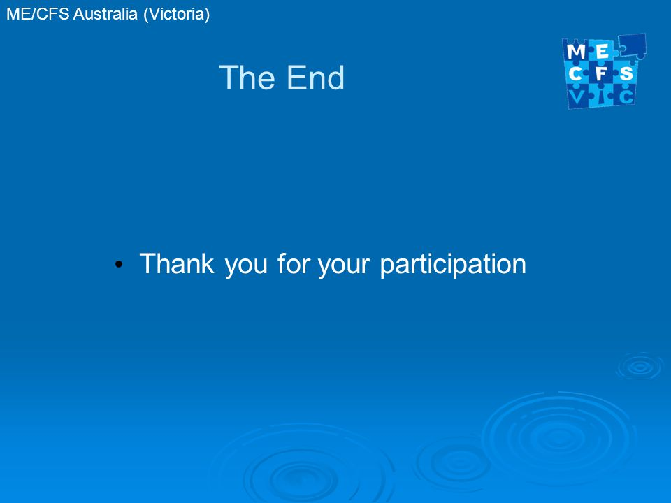 The End Thank you for your participation