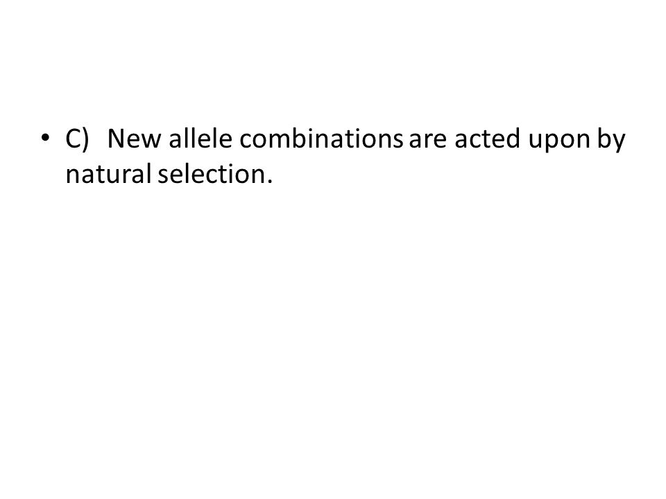 C)New allele combinations are acted upon by natural selection.