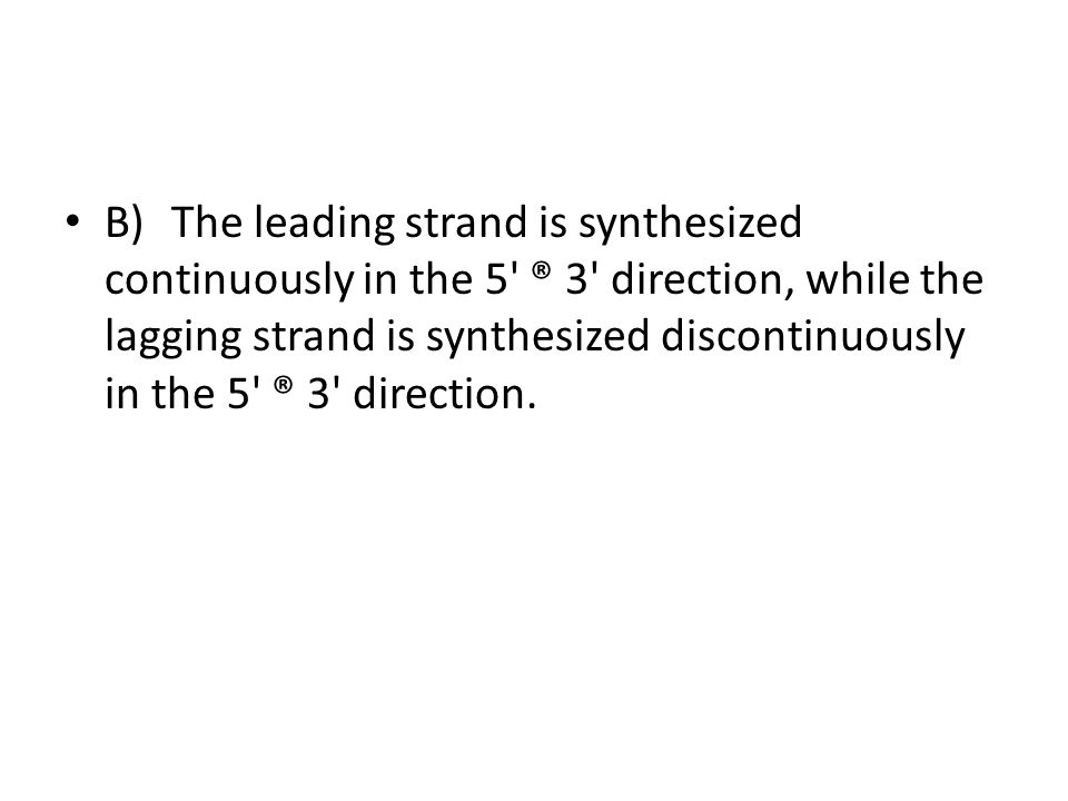 B)The leading strand is synthesized continuously in the 5' ® 3' direction, while the lagging strand is synthesized discontinuously in the 5' ® 3' dire