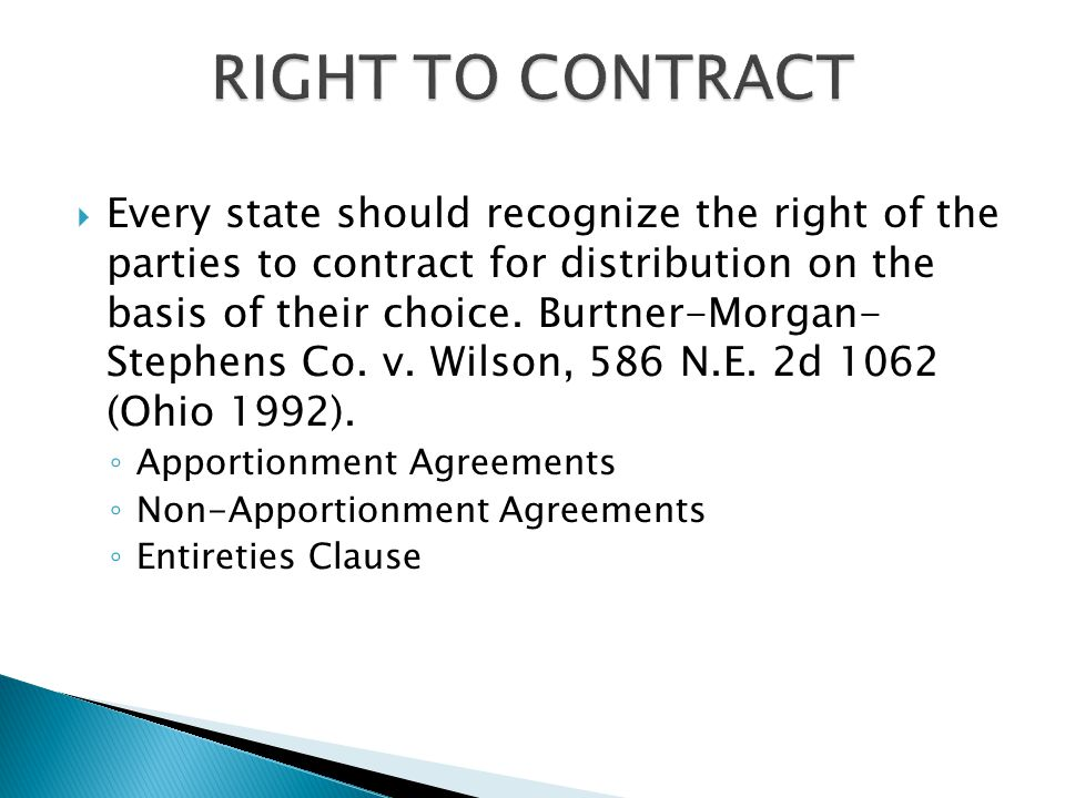  Every state should recognize the right of the parties to contract for distribution on the basis of their choice.