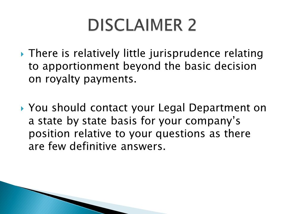  There is relatively little jurisprudence relating to apportionment beyond the basic decision on royalty payments.