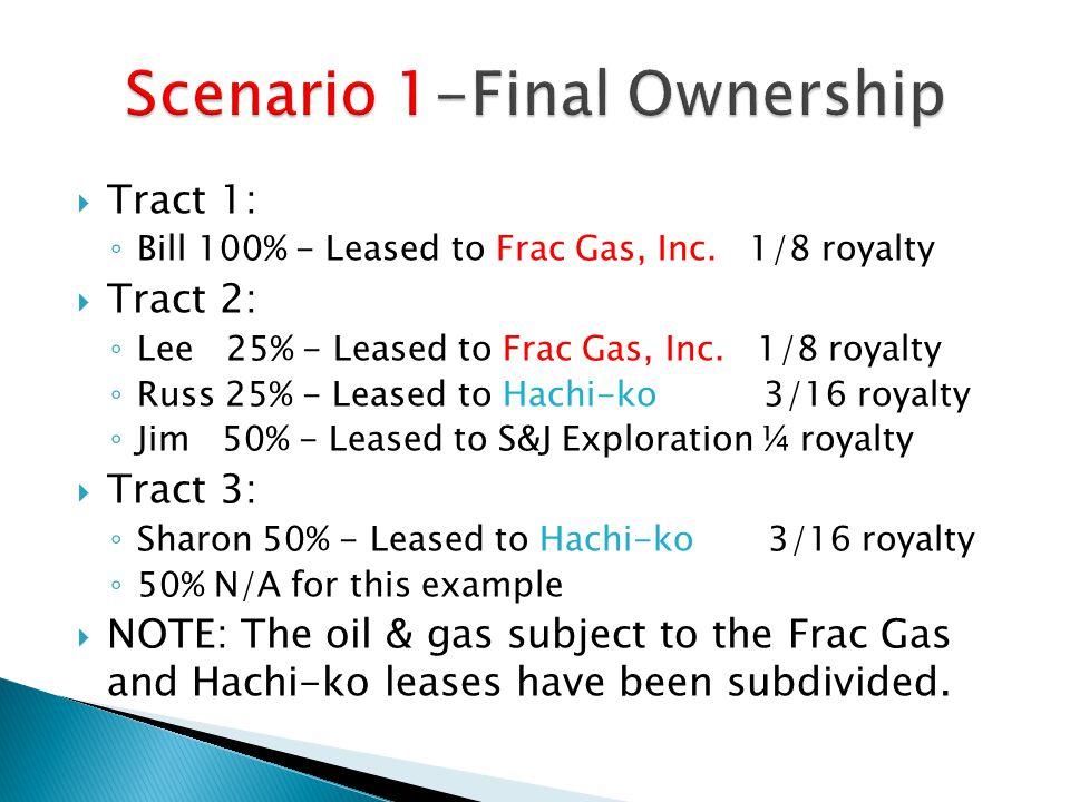  Tract 1: ◦ Bill 100% - Leased to Frac Gas, Inc.