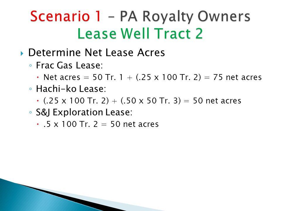  Determine Net Lease Acres ◦ Frac Gas Lease:  Net acres = 50 Tr.