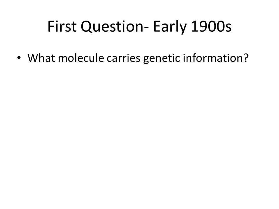 First Question- Early 1900s What molecule carries genetic information