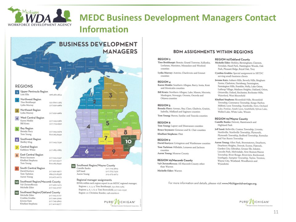 MEDC Business Development Managers Contact Information 11
