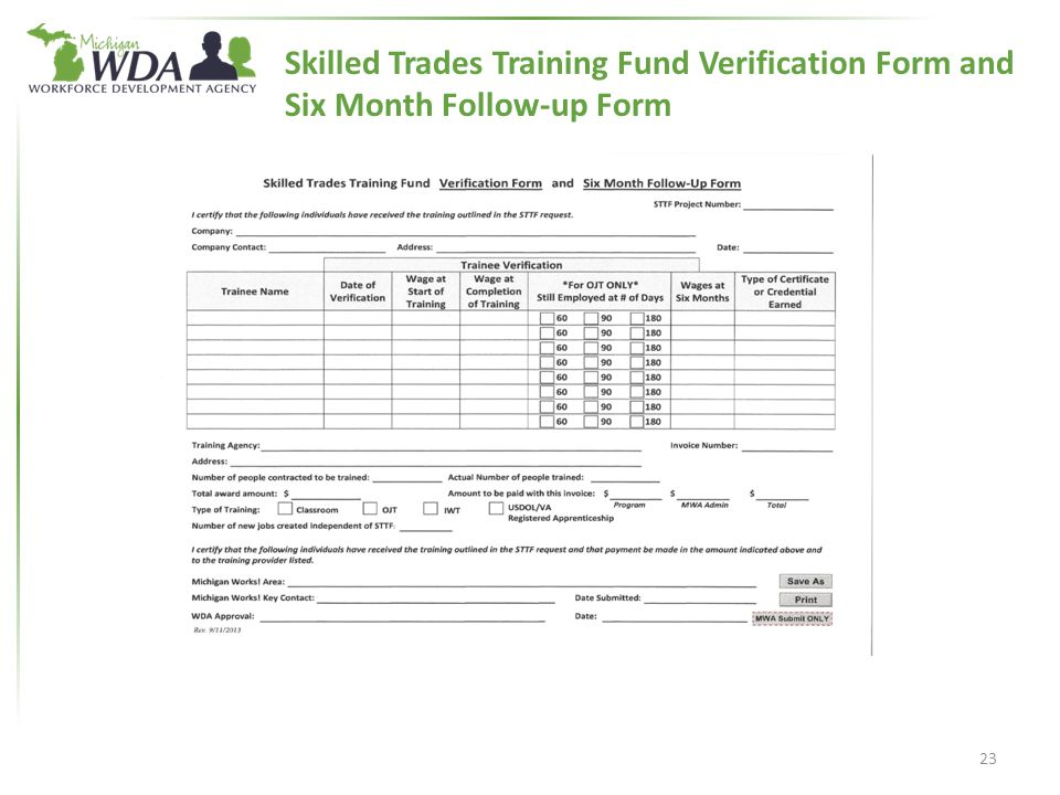 Skilled Trades Training Fund Verification Form and Six Month Follow-up Form 23