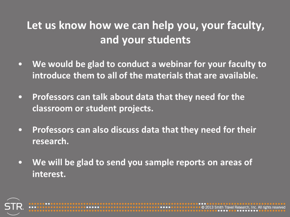 Let us know how we can help you, your faculty, and your students We would be glad to conduct a webinar for your faculty to introduce them to all of th