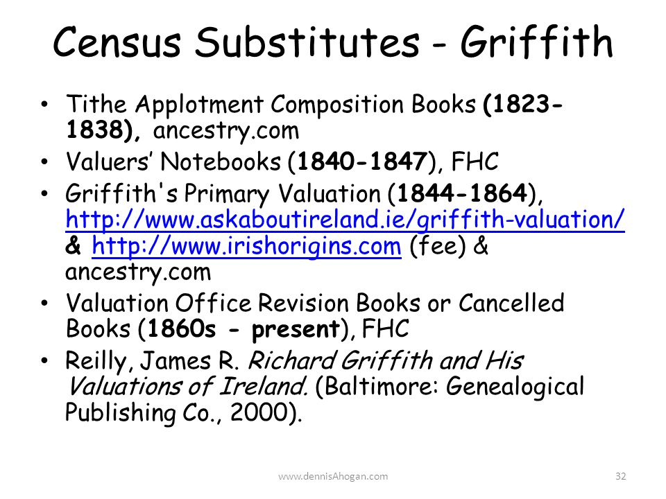 Census Substitutes - Griffith Tithe Applotment Composition Books (1823- 1838), ancestry.com Valuers' Notebooks (1840-1847), FHC Griffith s Primary Valuation (1844-1864), http://www.askaboutireland.ie/griffith-valuation/ & http://www.irishorigins.com (fee) & ancestry.com http://www.askaboutireland.ie/griffith-valuation/http://www.irishorigins.com Valuation Office Revision Books or Cancelled Books (1860s - present), FHC Reilly, James R.