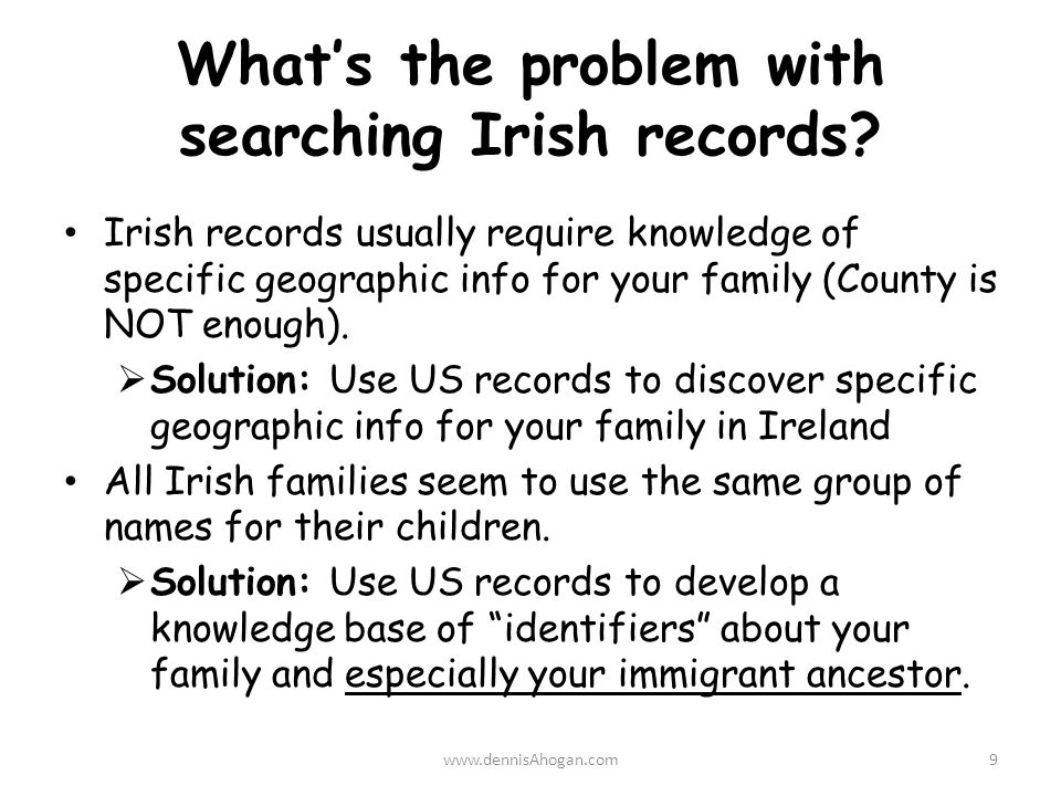 What's the problem with searching Irish records.