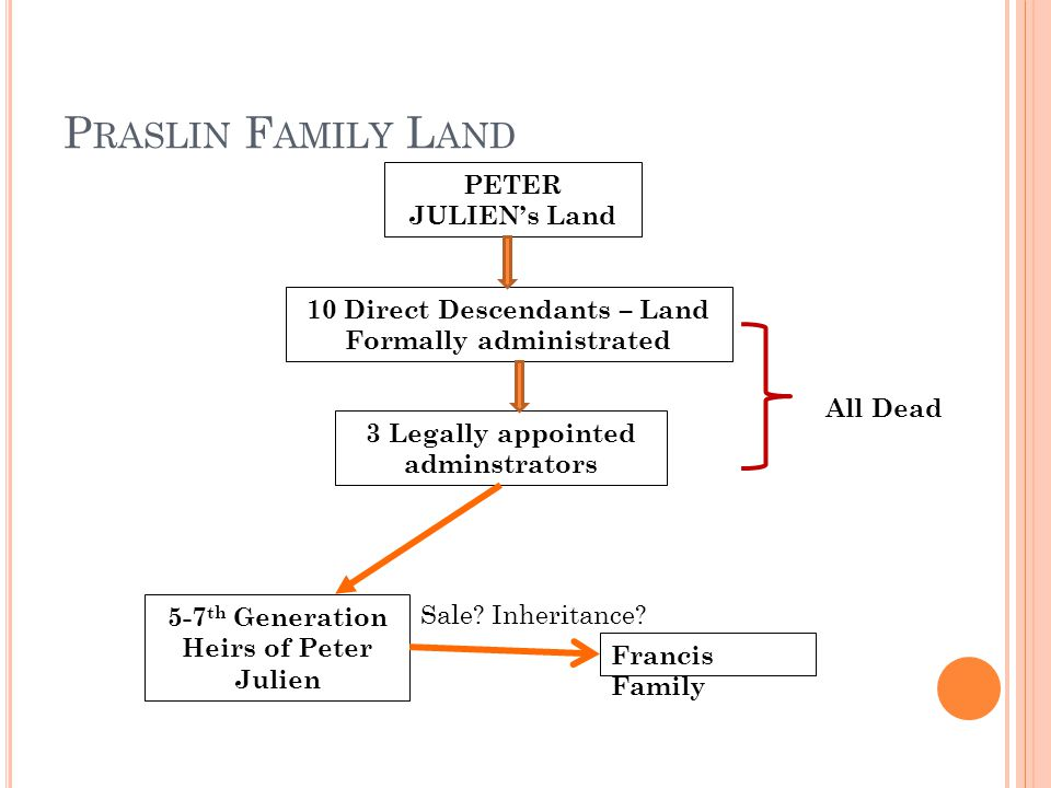 P RASLIN F AMILY L AND PETER JULIEN's Land 10 Direct Descendants – Land Formally administrated 3 Legally appointed adminstrators 5-7 th Generation Heirs of Peter Julien Francis Family All Dead Sale.