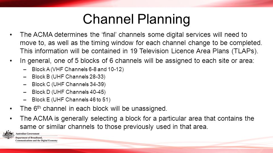 Channel Planning The ACMA determines the 'final' channels some digital services will need to move to, as well as the timing window for each channel change to be completed.