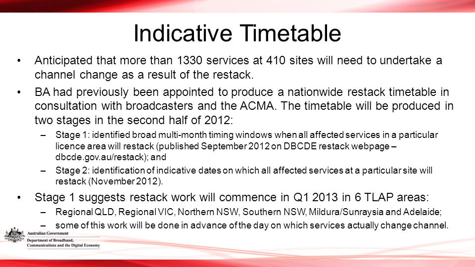 Indicative Timetable Anticipated that more than 1330 services at 410 sites will need to undertake a channel change as a result of the restack.