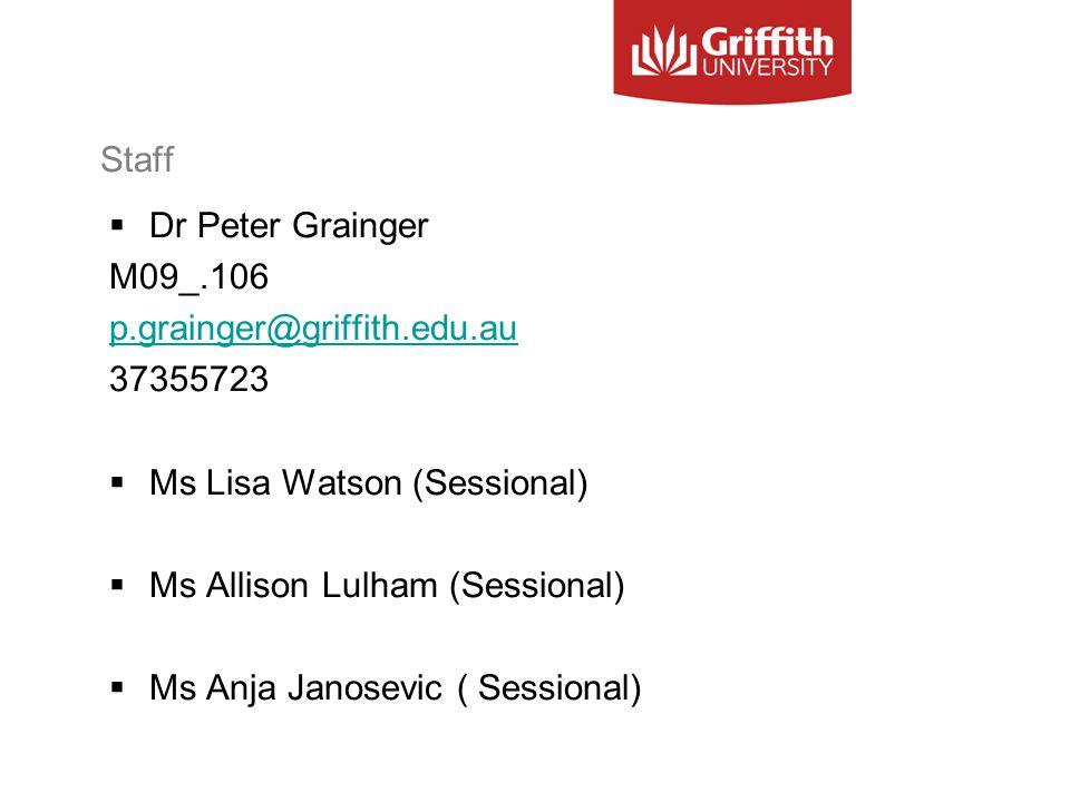 Staff  Dr Peter Grainger M09_.106 p.grainger@griffith.edu.au 37355723  Ms Lisa Watson (Sessional)  Ms Allison Lulham (Sessional)  Ms Anja Janosevi