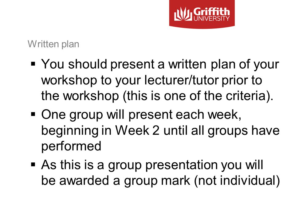 Written plan  You should present a written plan of your workshop to your lecturer/tutor prior to the workshop (this is one of the criteria).