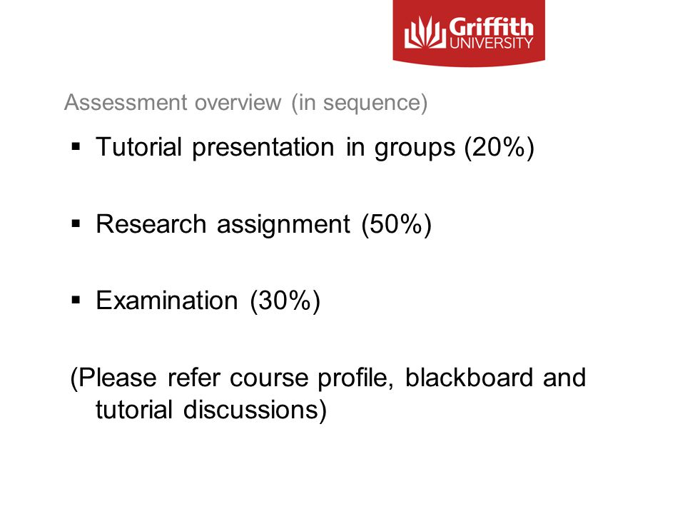 Assessment overview (in sequence)  Tutorial presentation in groups (20%)  Research assignment (50%)  Examination (30%) (Please refer course profile