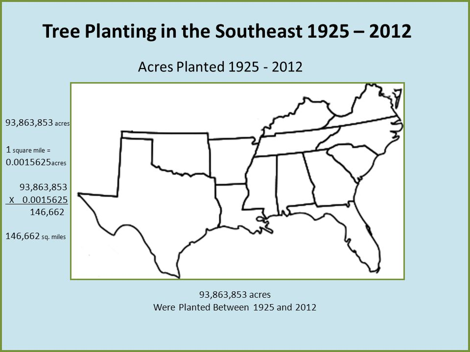 Tree Planting in the Southeast 1925 – 2012 Acres Planted 1925 - 2012 93,863,853 acres Were Planted Between 1925 and 2012 93,863,853 acres 1 square mil