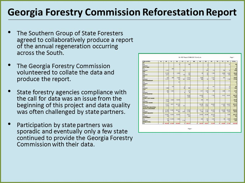 Georgia Forestry Commission Reforestation Report The Southern Group of State Foresters agreed to collaboratively produce a report of the annual regene