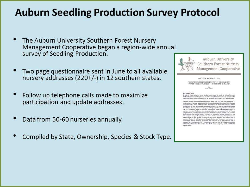 Auburn Seedling Production Survey Protocol The Auburn University Southern Forest Nursery Management Cooperative began a region-wide annual survey of S
