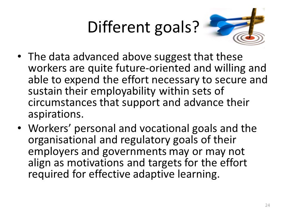 Different goals? The data advanced above suggest that these workers are quite future-oriented and willing and able to expend the effort necessary to s