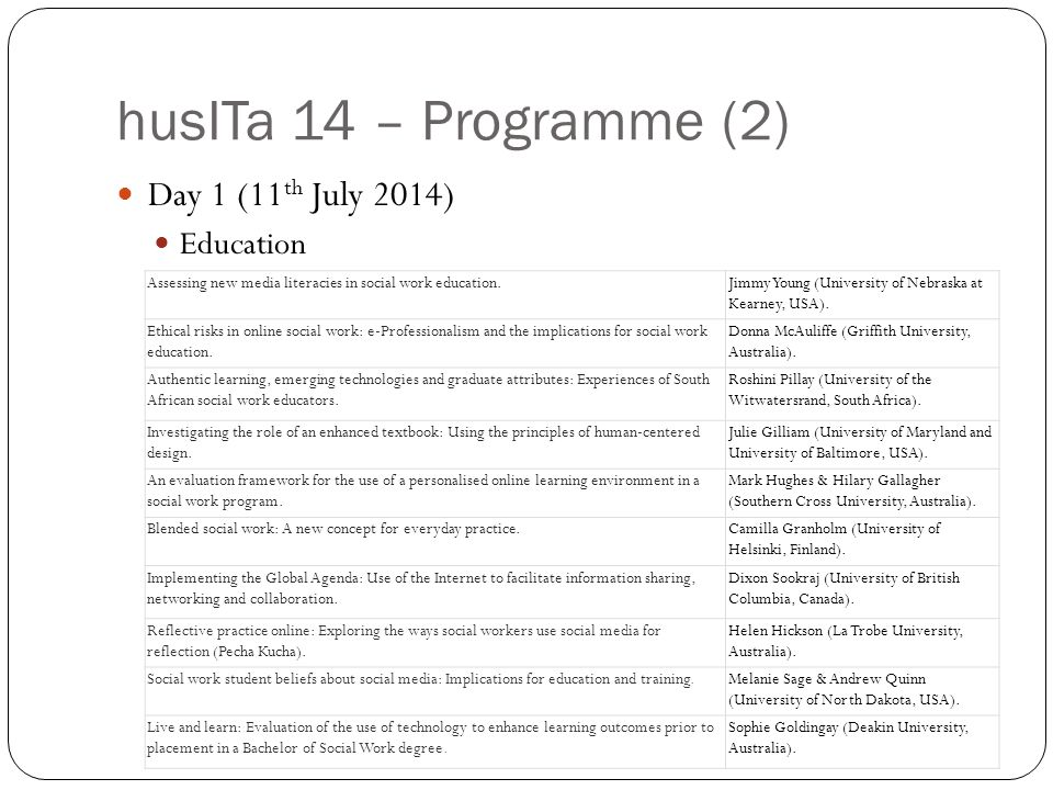 husITa 14 – Programme (2) Day 1 (11 th July 2014) Education Assessing new media literacies in social work education.Jimmy Young (University of Nebraska at Kearney, USA).