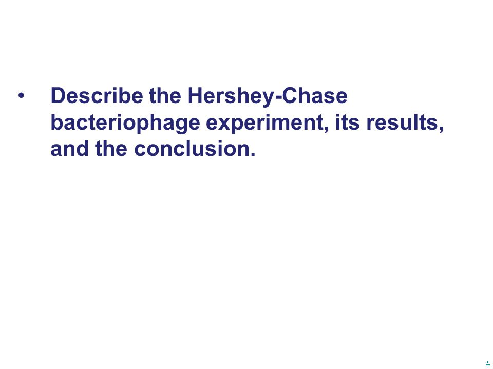 . Describe the Hershey-Chase bacteriophage experiment, its results, and the conclusion.