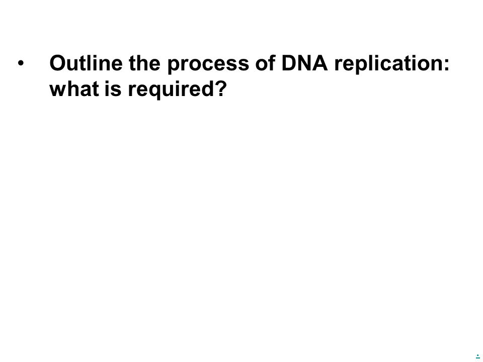 . Outline the process of DNA replication: what is required?