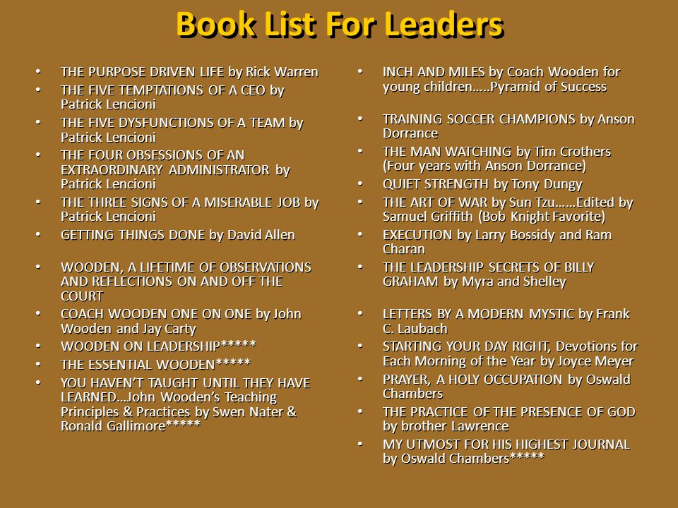 Book List For Leaders INCH AND MILES by Coach Wooden for young children…..Pyramid of Success TRAINING SOCCER CHAMPIONS by Anson Dorrance THE MAN WATCH