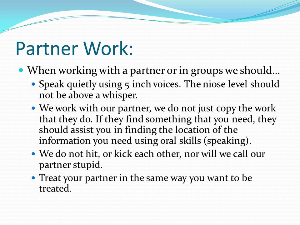 Partner Work: When working with a partner or in groups we should… Speak quietly using 5 inch voices.