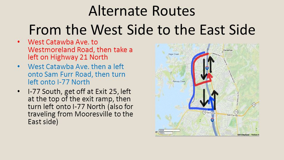 Alternate Routes From the West Side to the East Side West Catawba Ave.