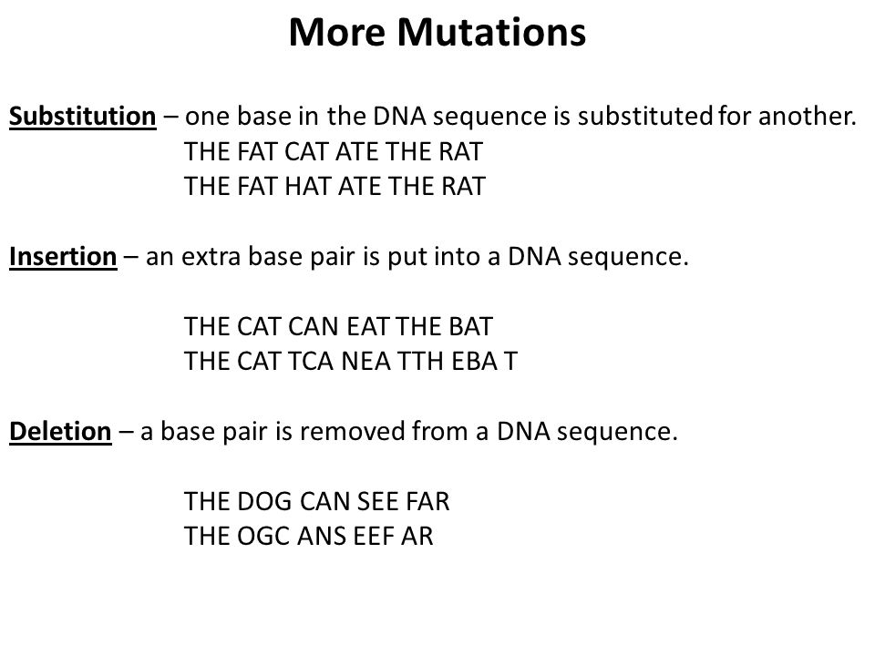 More Mutations Substitution – one base in the DNA sequence is substituted for another. THE FAT CAT ATE THE RAT THE FAT HAT ATE THE RAT Insertion – an