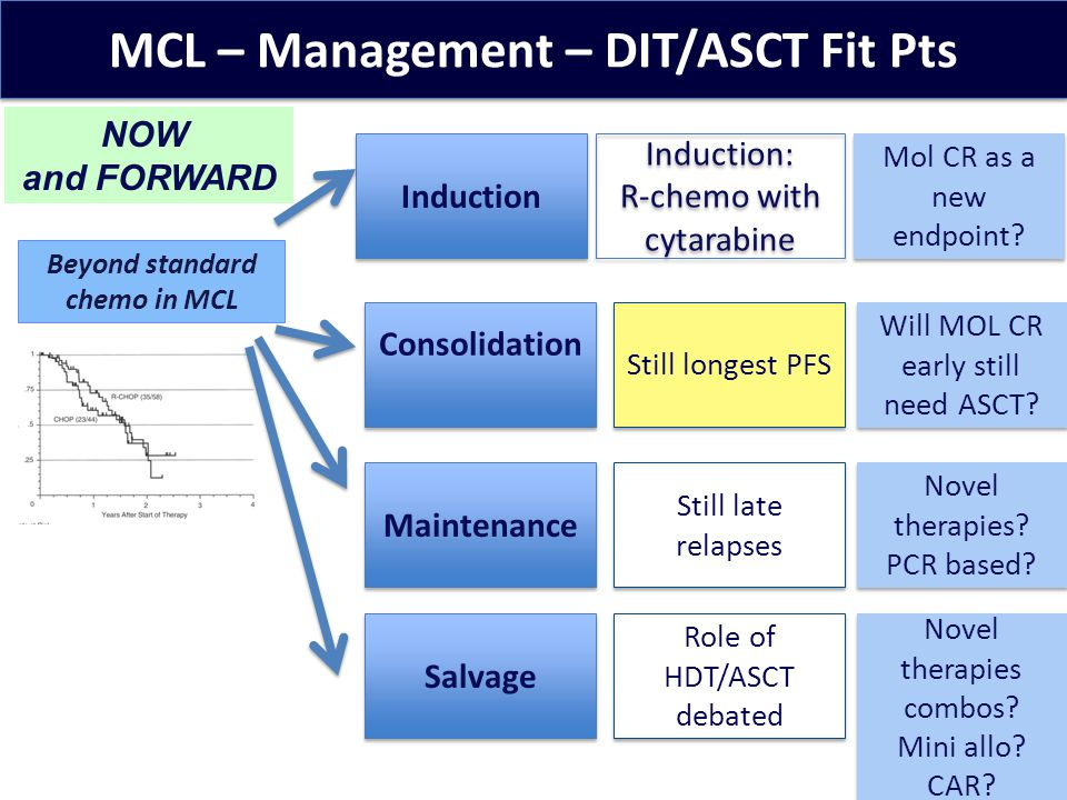 MCL – Management – DIT/ASCT Fit Pts Induction NOW and FORWARD Mol CR as a new endpoint.