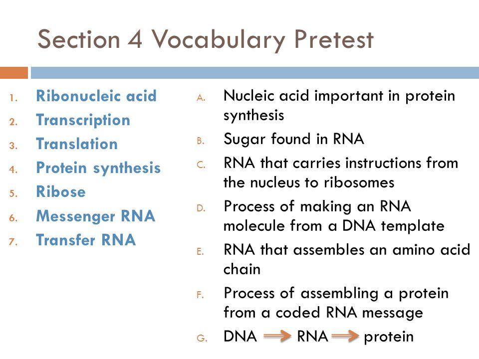 Section 4 Vocabulary Pretest 1.Ribonucleic acid 2.