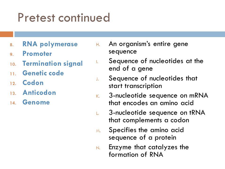 8.RNA polymerase 9. Promoter 10. Termination signal 11.