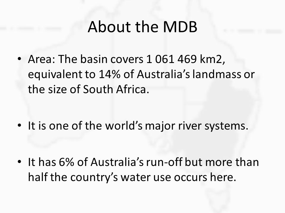 Many rivers contribute Major tributaries of the Murray Darling.